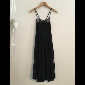 Angl Black Maxi Dress Mesh Detail Size Small